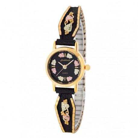 Landstrom's® Ladies Black Hills Gold Black Powder Coated Watch with 12K Gold Leaves