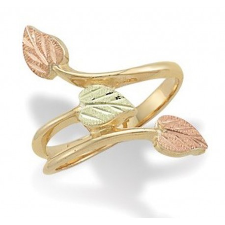 Landstrom's® 10K Black Hills Gold Ladies Ring with Three Leaves