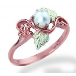 10K Black Hills Rose Gold Pearl Ring