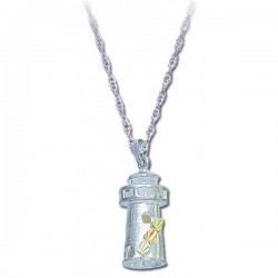Black Hills Gold .925 Sterling Silver Ladies Beach Lighthouse Pendant Necklace