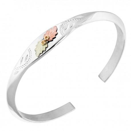 Landstrom's® Sterling Silver Cuff Bracelet with 12K Leaves