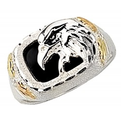 Black Hills Gold on Sterling Silver Eagle Ring with Onyx By Mt. Rushmore