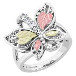 Landstrom's® Black Hills Gold on Sterling Silver Butterfly Ring w/ CZ