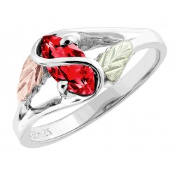 Size 7 Landstrom's® Sterling Silver Ladies Ring with Ruby