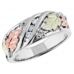 Tri-color Black Hills White Gold and Diamond Ladies Wedding Ring