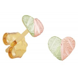 Miniature Black Hills Gold Heart Earrings