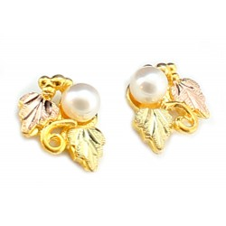 Landstrom's® 10K Black Hills Gold Leaves Earrings with Pearl