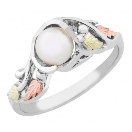 Black Hills Gold on Sterling Silver Ladies Ring with 5.5MM Pearl