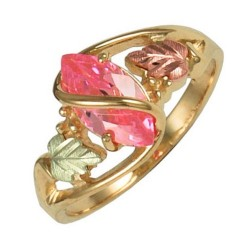 10K Black Hills Gold Ladies Ring with Pink CZ