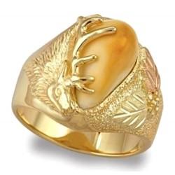 Dakota Elk Ivory 10K Black Hills Gold Men's Ring - Blank