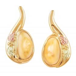 Elk Ivory 10K Black Hills Gold Ladies Earrings