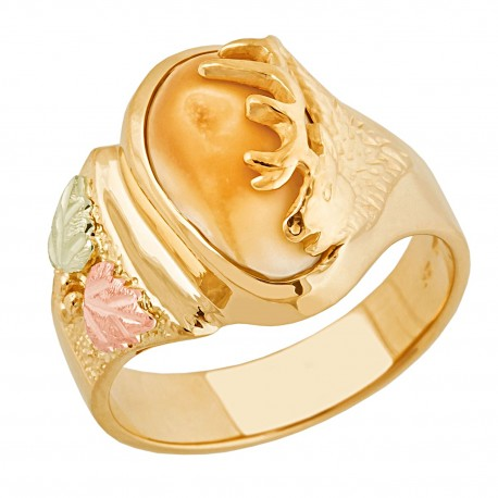 Elk Ivory 10K Black Hills Yellow Gold Ladies Ring