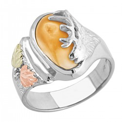 Elk Ivory Black Hills Gold on Sterling Silver Ladies Ring
