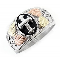 Mt. Rushmore Black Hills Gold on Sterling Silver Men's Cross Ring