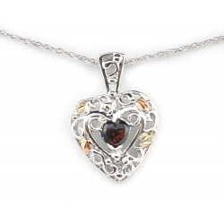 Landstrom's® Black Hills Gold on Sterling Silver Heart Pendant with Black Opal