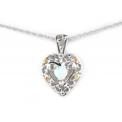 Landstrom's® Sterling Silver Heart Pendant with Opal