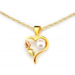 Landstroms 10K Black Hills Gold Small Heart Pendant with Pearl