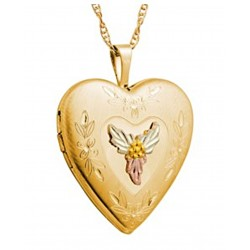 Mt. Rushmore Tri-tone Black Hills - Gold Filled Heart Locket w/Necklace