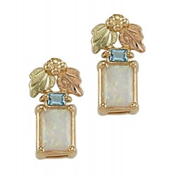Landstrom's® Small 10K Gold Earrings with Opal & Topaz