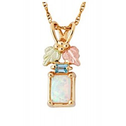 Landstrom's® Small 10K Gold Pendant with Opal & Topaz