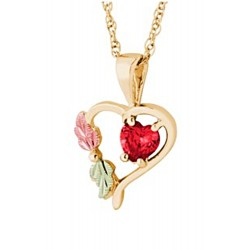 Landstrom's® Small 10K Gold Heart Pendant with Ruby