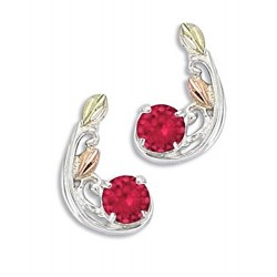 Landstrom's® Sterling Silver Earrings with 3MM Ruby