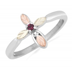 Landstrom's® Sterling Silver Ladies Cross Ring with Ruby