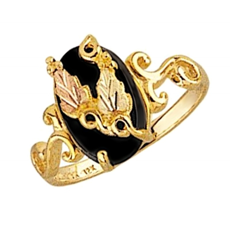 Mt Rushmore 10k Yellow Gold Ladies Ring With Oval Black