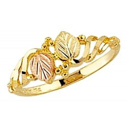 Mt. Rushmore 10K Yellow Gold Ladies Ring with 12K Gold Leaves