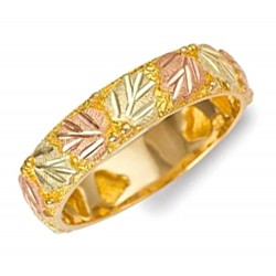 Mt. Rushmore 10K Yellow Gold Ladies Band Ring with Leaves