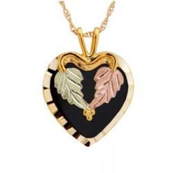10K Black Hills Gold Heart Pendant with Onyx