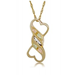 10K Black Hills Gold Double Heart Pendant with Diamond