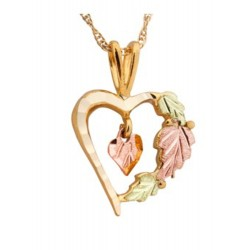 10K Black Hills Gold Heart Pendant with Leaves