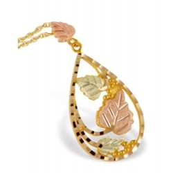 10K Black Hills Gold Teardrop Pendant with Leaves