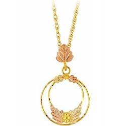 10K Black Hills Gold Double Circle Pendant with Leaves