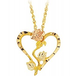10K Black Hills Gold Diamond Cut Heart Pendant with Rose