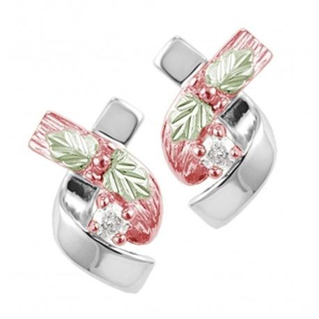 Landstrom's® Rose Gold on Sterling Silver Earrings w CZ