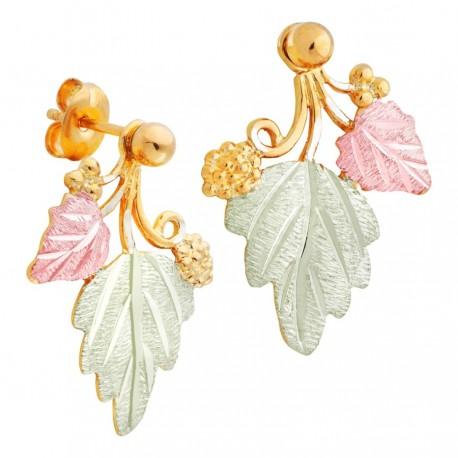 Landstrom's® 10K Black Hills Gold Traditional 12K Leaves Earrings
