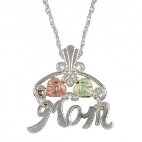 BLACK HILLS GOLD SILVER 'MOM' PENDANT NECKLACE GREAT MOTHER'S DAY GIFT