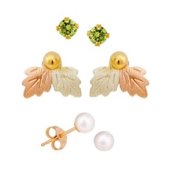 Mt. Rushmore Small 10K Yellow Gold Earrings Jacket Trio Set – Peridot, Pearl, 10K Stud