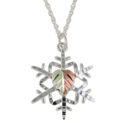 Black Hills Gold Ladies Sterling Silver Snowflake Pendant Necklace