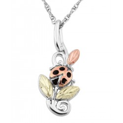 Black Hills Gold on Sterling Silver Ladybug Pendant