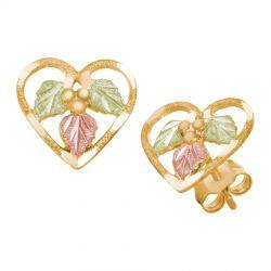 10K Black Hills Gold Small Heart Earrings by Landstrom's®