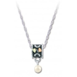 Black Hills Gold Antiqued Silver 5mm Cultured Pearl Pendant Necklace