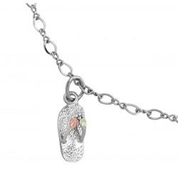 Black Hills Gold on Sterling Silver Flip-Flop Ankle Bracelet