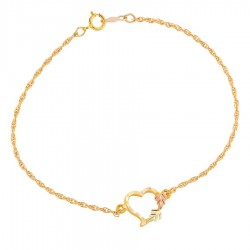 10K Black Hills Gold Heart Bracelet