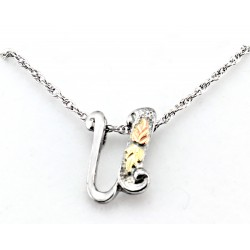 Black Hills Gold on Sterling Silver Initials Pendant - U