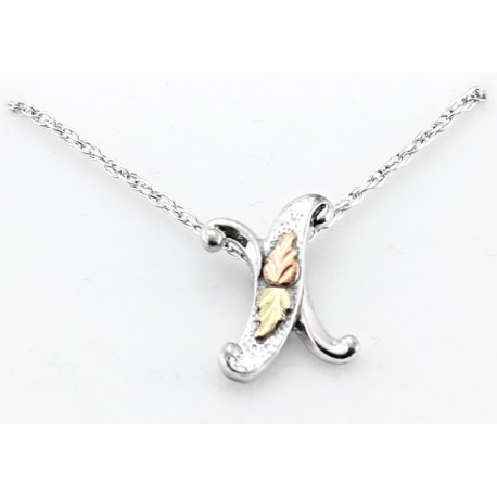 Black Hills Gold on Sterling Silver Initials Pendant - X