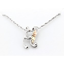 Black Hills Gold on Sterling Silver Initials Pendant - H