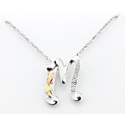 Black Hills Gold on Sterling Silver Initials Pendant - M
